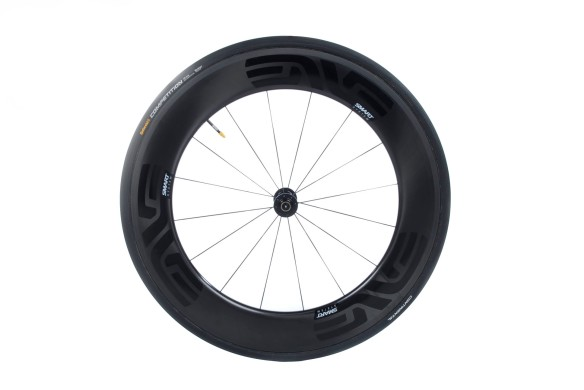 The front Wheel has a depth of 85mm and width of 26mm.  We paired this with a 25mm Continental Competition tubular.