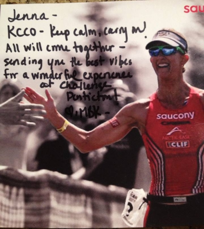 A very cool note that accompanied a personal letter that Meredith Kessler sent to Jenna.  What a class act, I still can't believe she went out of her way to do this.  We'll be rooting for her in Hy-Vee tomorrow and more importantly when she's racing Kona in October!