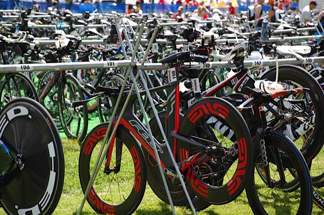 Racked and ready to go in T1.  Logistics the day before an Ironman with gear and bike checks is always a headache.